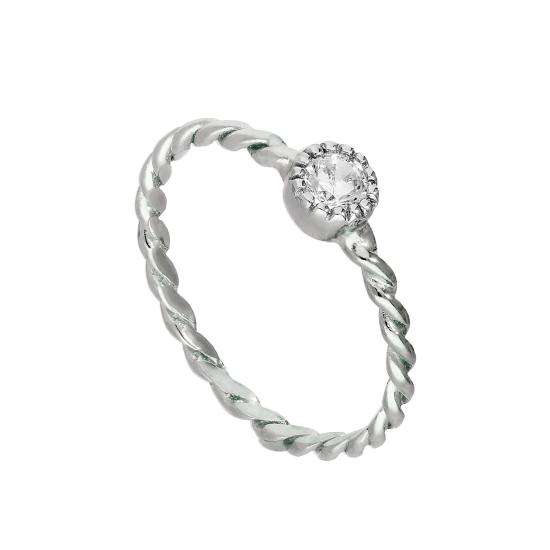 Sterling Silver & Clear CZ Crystal April Birthstone Twisted Rope Ring I - U