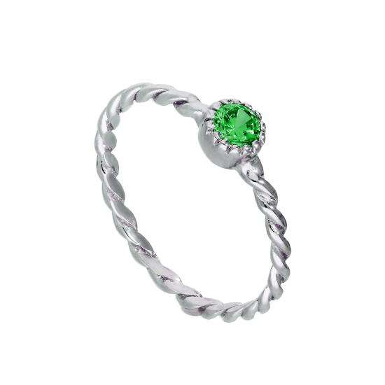 Sterling Silver & Emerald CZ Crystal May Birthstone Twisted Rope Ring I - U