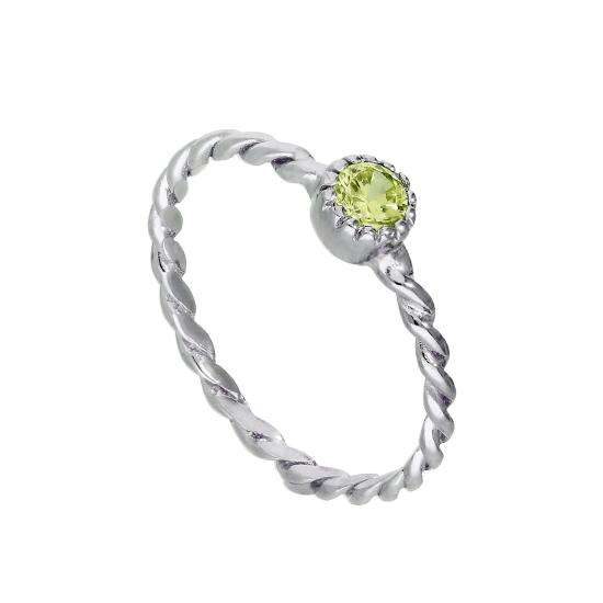 Sterling Silver & Peridot CZ Crystal August Birthstone Twisted Rope Ring I - U
