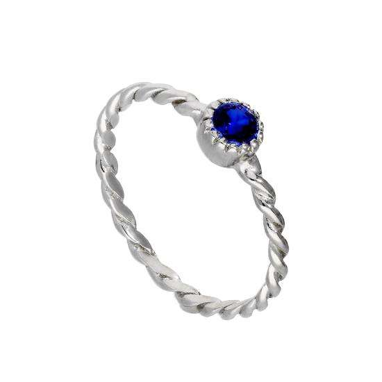 Sterling Silver & Sapphire CZ Crystal September Birthstone Twisted Rope Ring I - U