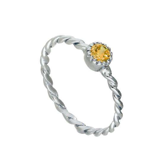 Sterling Silver & Citrine CZ Crystal November Birthstone Twisted Rope Ring I - U