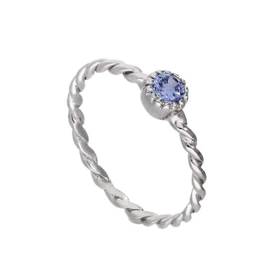 Sterling Silver & Tanzanite CZ Crystal December Birthstone Twisted Rope Ring I - U