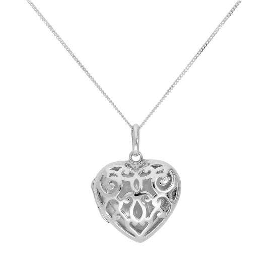 Sterling Silver Engravable Heart Locket w Open Swirls Design 16 - 22 Inches