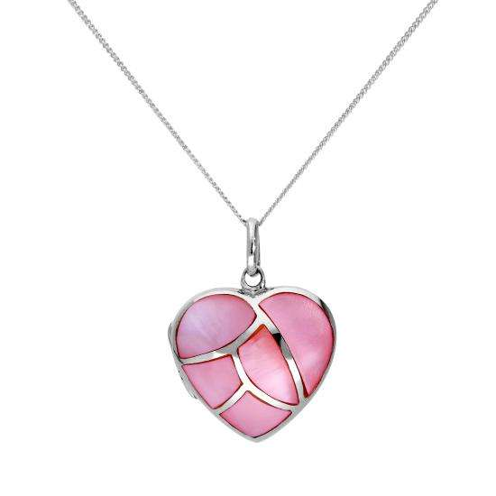 Sterling Silver & Dyed Pink Mother of Pearl Engravable Heart Locket 16-22 Inches