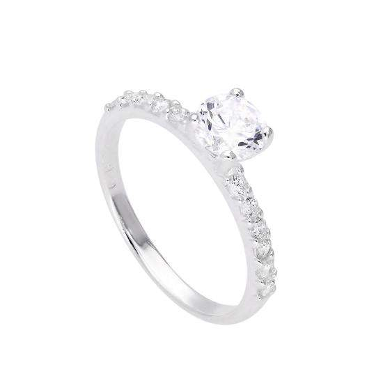 Sterling Silver & Clear CZ Crystal Ring w CZ Crystals on Shoulders Size J - V