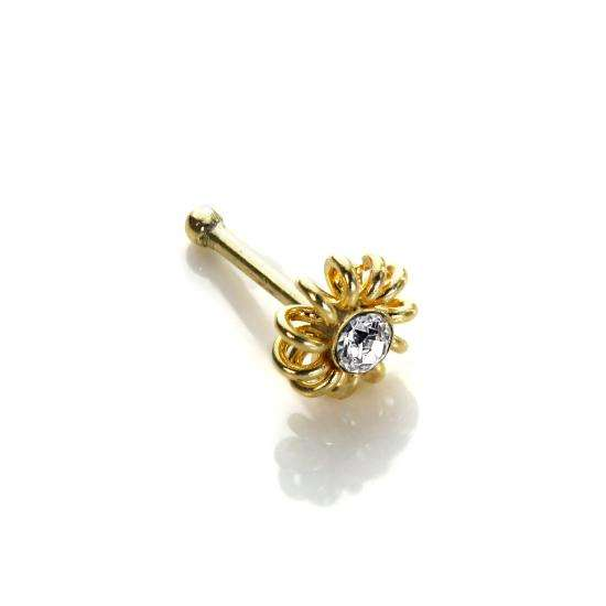 9ct Yellow Gold Clear CZ Coiled Nose Stud
