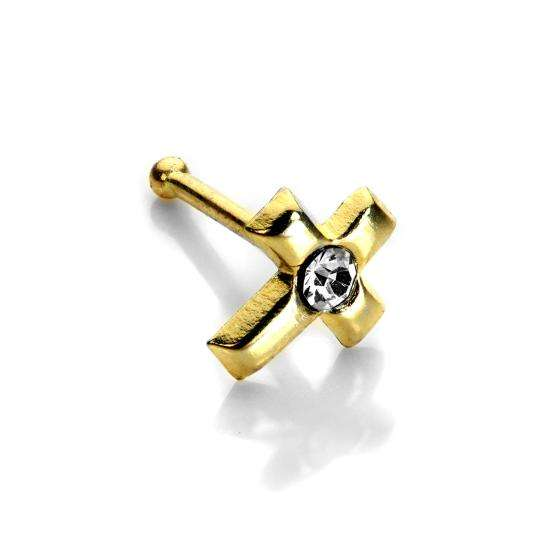 9ct Yellow Gold Clear CZ Cross Nose Stud