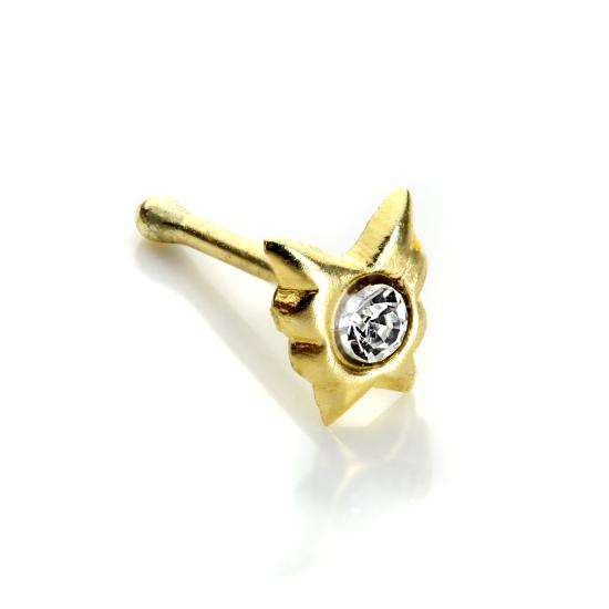 9ct Yellow Gold Clear CZ Butterfly Nose Stud