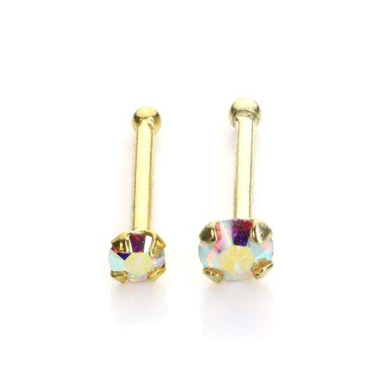9ct Yellow Gold Aurora Borealis Nose Stud