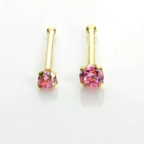 9ct Yellow Gold Pink Crystal Nose Stud