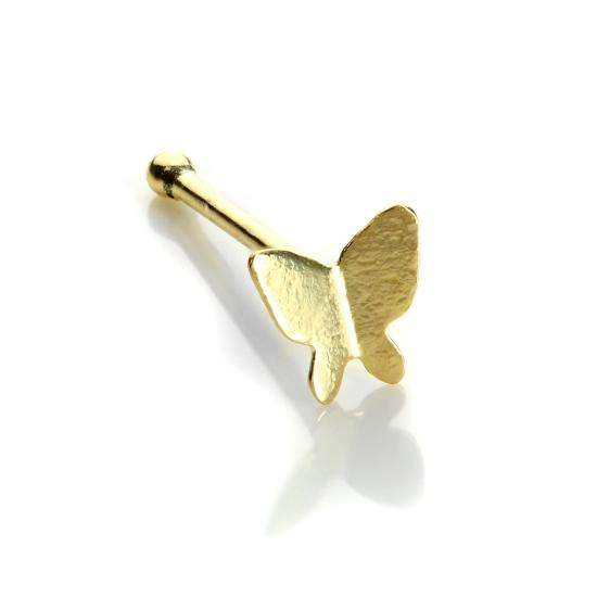 9ct Yellow Gold Butterfly Nose Stud