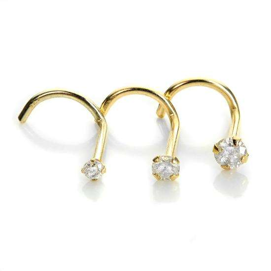 9ct Yellow Gold Diamond Nose Screw