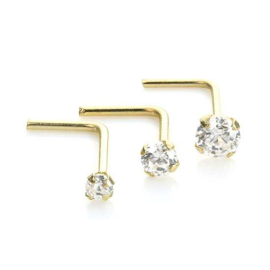 9ct Yellow Gold Clear Crystal Nose Stud