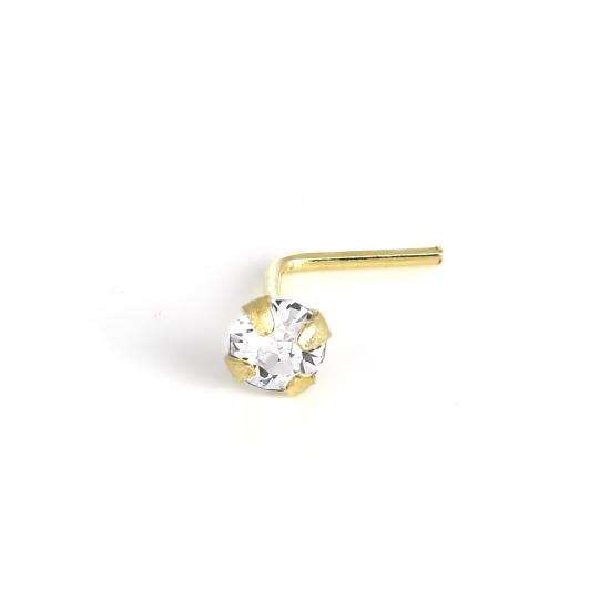 9ct Gold L-Shaped Crystal 2.5mm Nose Stud