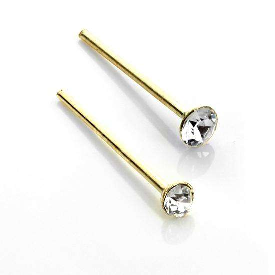 9ct Yellow Gold Clear CZ Straight Nose Stud