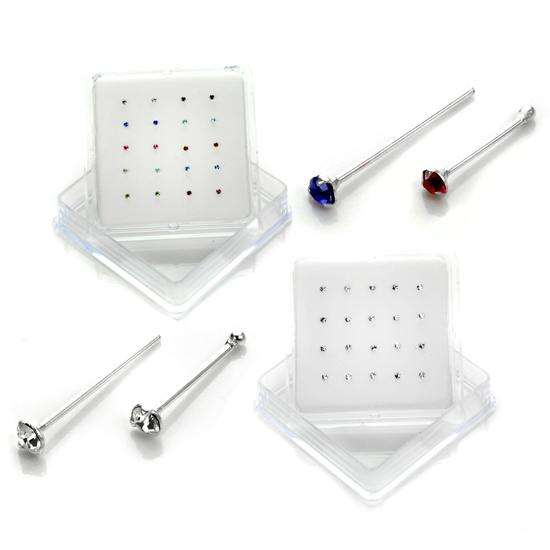 20 Pack Sterling Silver Crystal 1.6mm Nose Studs