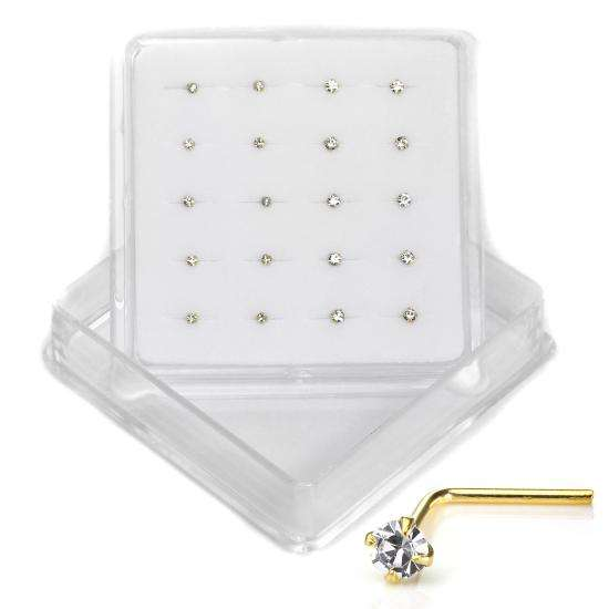 20 x 9ct Gold L Shaped Nose Stud Pins 1.5mm & 2mm CZ Crystal Studs