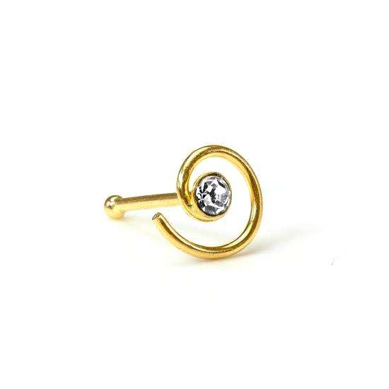9ct Yellow Gold Ball End 2mm CZ Crystal Coil Nose Stud Clear