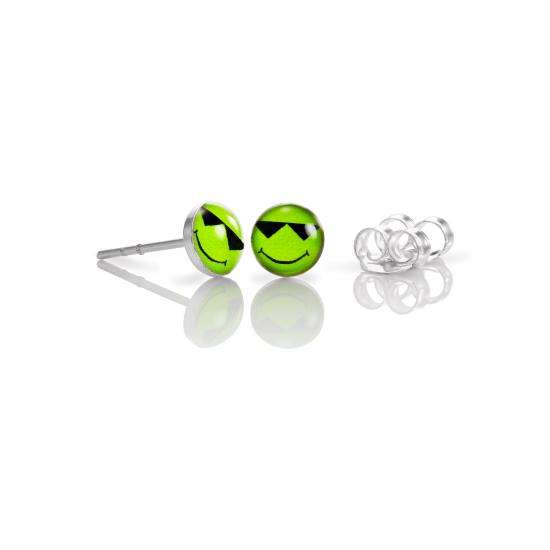Sterling Silver Smiley Sun Stud Earrings - Green