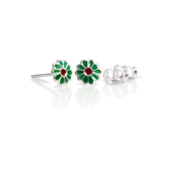 Sterling Silver & Enamel Flower Stud Earrings - Green Red