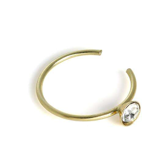 9ct Gold & 2.5mm CZ Crystal Open Nose Hoop Ring