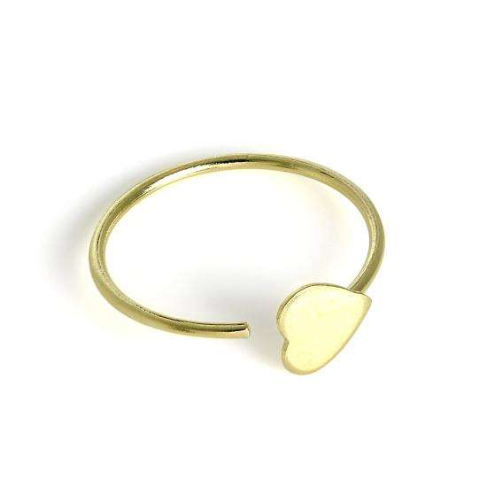 9ct Gold Flat Heart Open Nose Hoop Ring