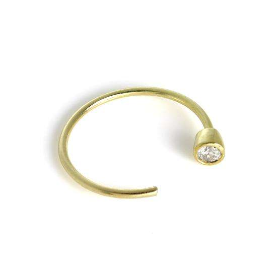 9ct Gold & 2mm Rubover CZ Crystal Open Nose Hoop Ring