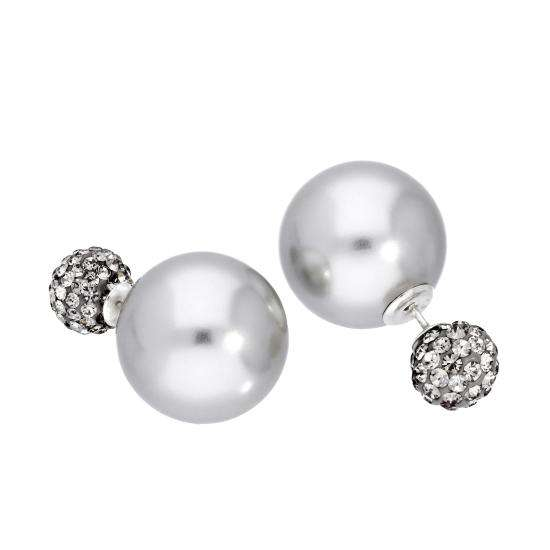 Sterling Silver Double Sided Grey Pearl & CZ Crystal Stud Earrings