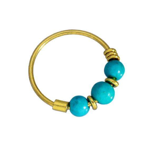 9ct Gold & Turquoise Beads Nose Ring