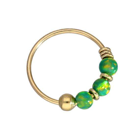 9ct Gold & Coloured Green Opal Stone Nose Ring