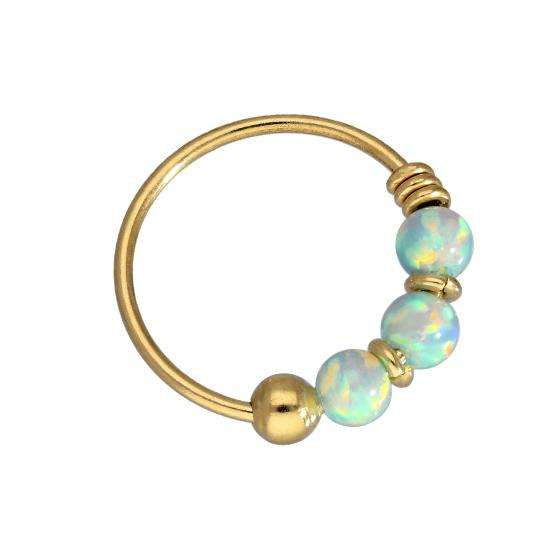 9ct Gold & Coloured Light Blue Opal Stone Nose Ring