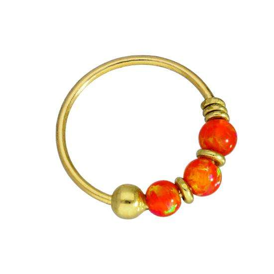 9ct Gold & Coloured Orange Opal Stone Nose Ring