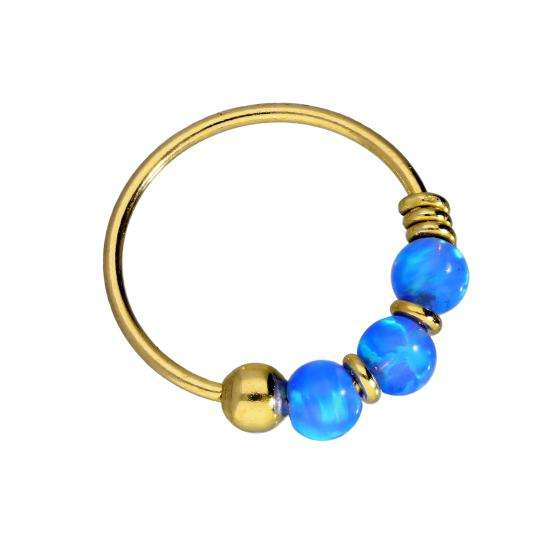 9ct Gold & Coloured Dark Blue Opal Stone Nose Ring