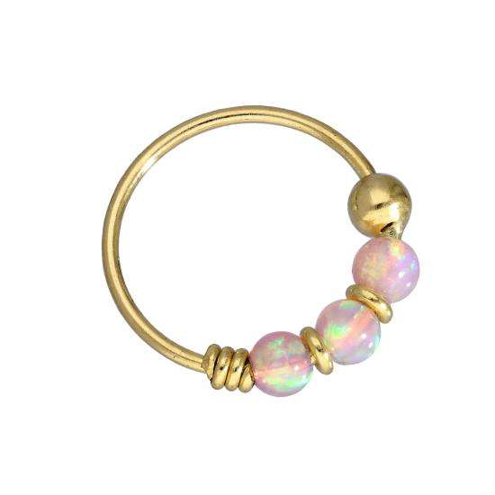 9ct Gold & Coloured Pink Opal Stone Nose Ring