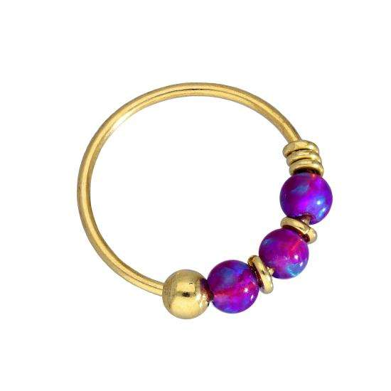 9ct Gold & Coloured Purple Opal Stone Nose Ring