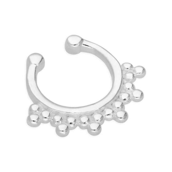 Sterling Silver Beaded Fake Septum