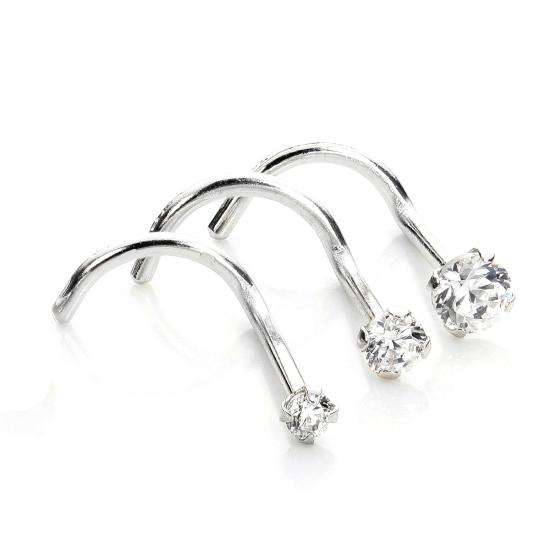 9ct White Gold Cubic Zirconia Crystal Nose Screw Hook