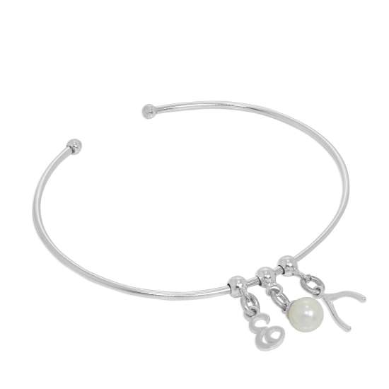 Sterling Silver Initial Letter & Pearl & Wishbone Adjustable Cuff Charm Bangle
