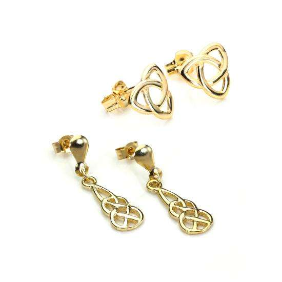 9ct Gold Celtic Knot Earrings Set