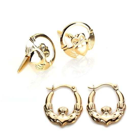 9ct Gold Claddagh Earrings Set