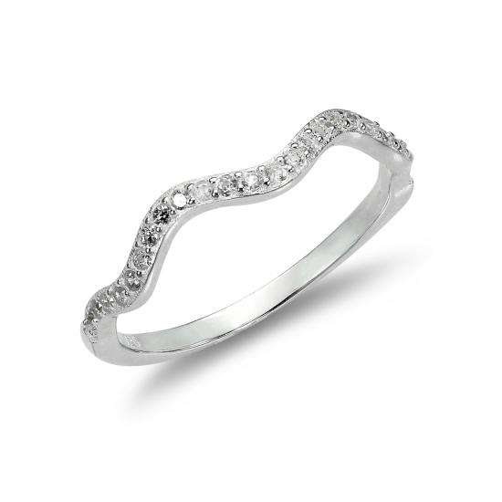 Sterling Silver 2mm Wave Ring with Clear CZ Crystals - UK Size I-U