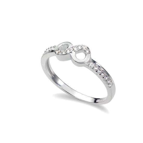 Sterling Silver CZ Crystal Eternity Infinity Ring - UK Size I-U