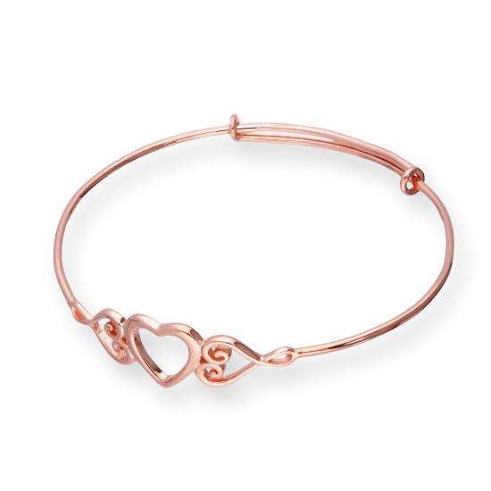 Rose Gold Plated Sterling Silver Triple Open Heart Adjustable Bangle
