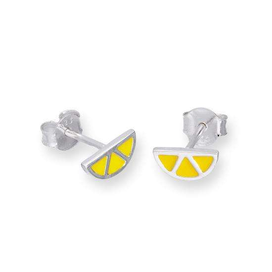 Sterling Silver & Yellow Enamel Lemon Slice Stud Earrings