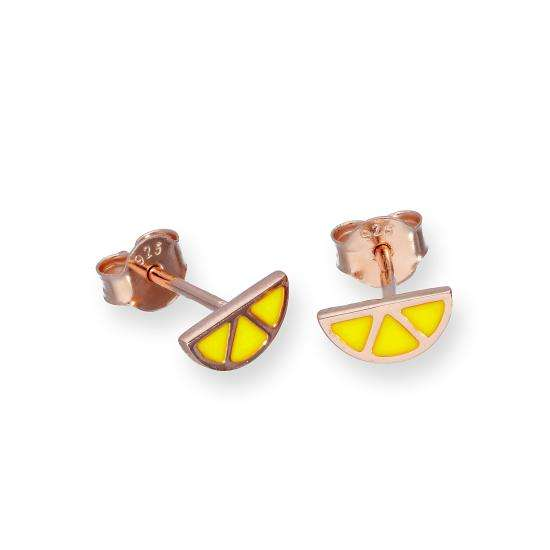 Rose Gold Plated Sterling Silver & Yellow Enamel Lemon Slice Stud Earrings
