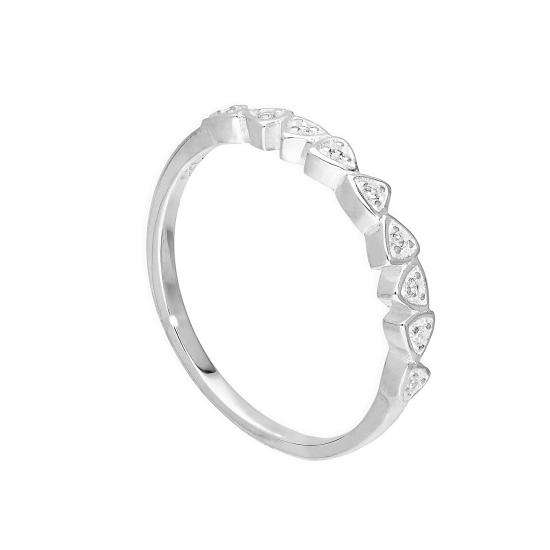 Sterling Silver & Clear CZ Crystal Triangles Half Eternity Ring Sizes H - V
