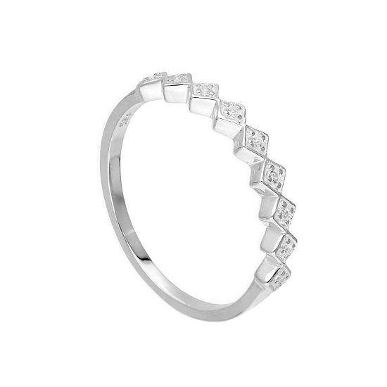 Sterling Silver & Clear CZ Crystal Squares Half Eternity Ring Sizes H - V