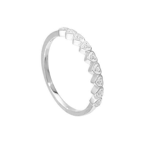 Sterling Silver & Clear CZ Crystal Hearts Half Eternity Ring Sizes H - V
