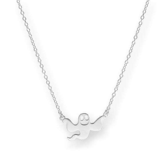 Sterling Silver Flying Ghost Necklace on 18 Inch Chain