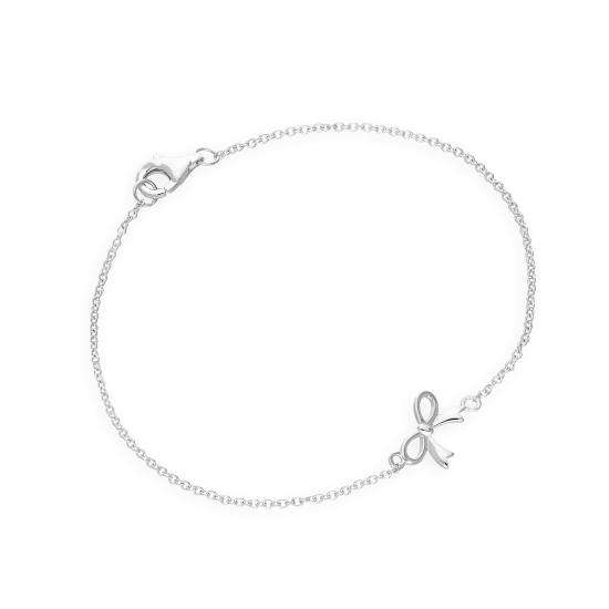Sterling Silver 7 Inch Ribbon Bow Bracelet